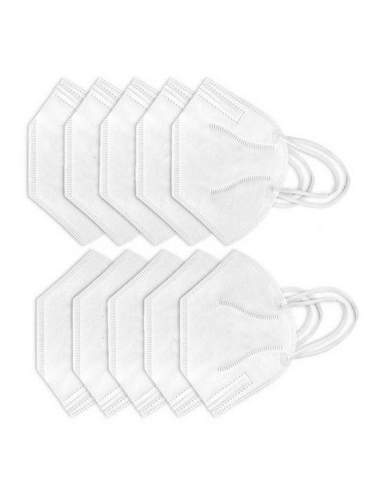 10db FFP2 (N95/KN95) szájmaszk, szelep nélküli - fehér