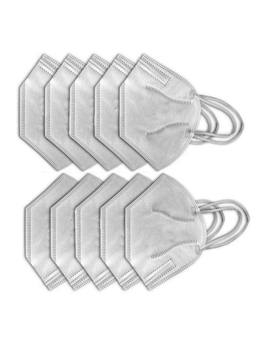 10db FFP2 (N95/KN95) szájmaszk, szelep nélküli - szürke