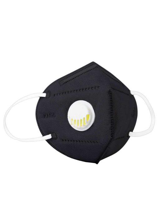 FFP2 (N95/KN95) szájmaszk, szeleppel - fekete
